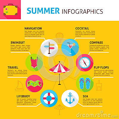 Summer Concept Infographic Vector Illustration