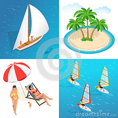 Summer concept of sandy beach. Idyllic travel background. Flat 3d vector isometric illustration. Vector Illustration