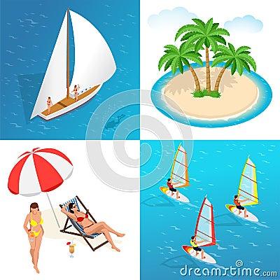 Summer concept of sandy beach. Idyllic travel background. Flat 3d vector isometric illustration. Vector Illustration