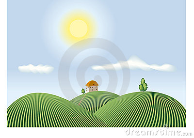 Summer countryside view