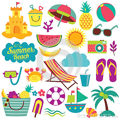 Free Summer Day Elements Clip Art Set Royalty Free Stock Photography - 61530337
