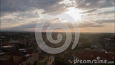Summer day Lviv cityscape aerial panorama 4k time lapse Ukraine. 4k stock footage