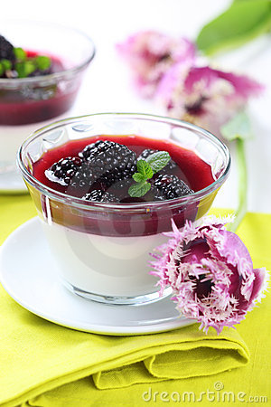 Summer dessert with blackberry