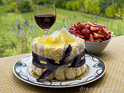 Summer dessert with wine