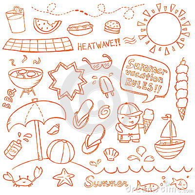 Free Summer Doodles Royalty Free Stock Photo - 28907045