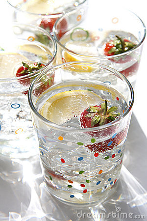 Summer drinks water lemon strawberry ice