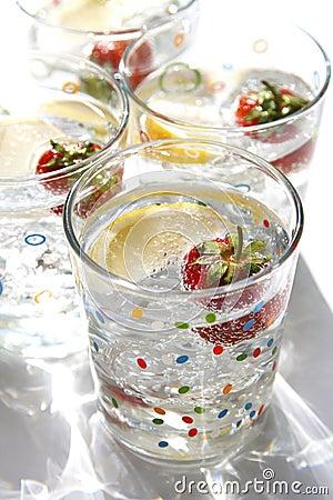 Summer drinks water lemon strawberry ice