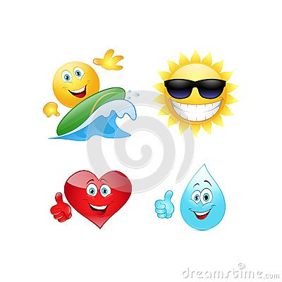 Free Summer Emoticon. Royalty Free Stock Images - 46434509