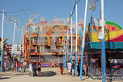Summer fair in Algeciras, Spain Editorial Stock Photo