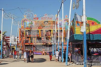 Summer fair in Algeciras, Spain Editorial Stock Photo