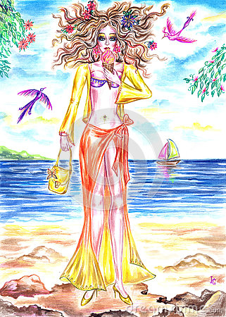 Free Summer Fairy Girl Eating Ice Cream On The Shore Of Sea Royalty Free Stock Images - 75248339