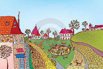 Summer fairytale town street