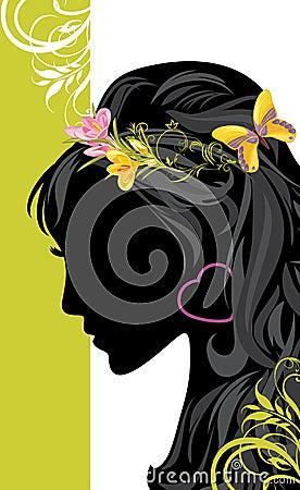 Summer female hairstyle. Decorative banner