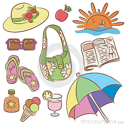 Summer female vacation icons set