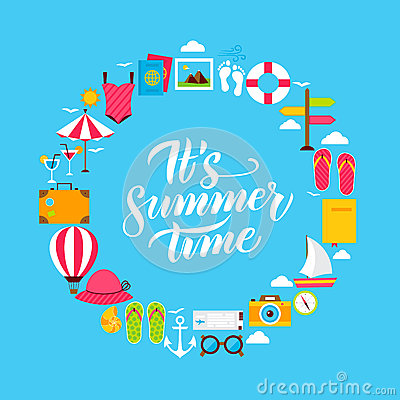 Summer Flat Circle Vector Illustration