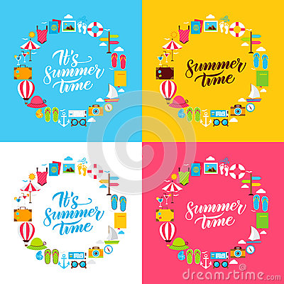 Summer Flat Circles Vector Illustration