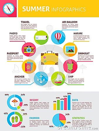 Summer Flat Infographics Vector Illustration