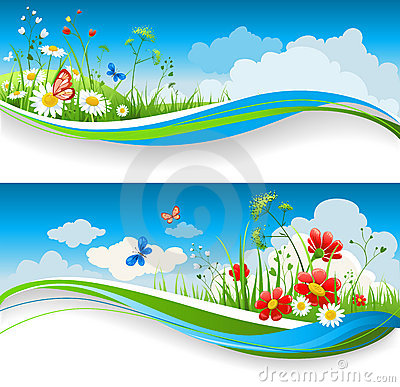 Free Summer Floral Banners Stock Photos - 18243323