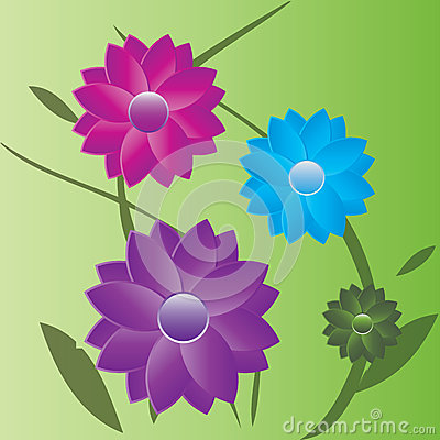 Summer flowers with leaves i