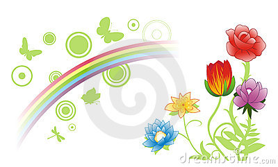 Summer flowers & rainbow