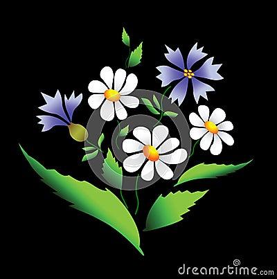 Summer flowers. Vector.