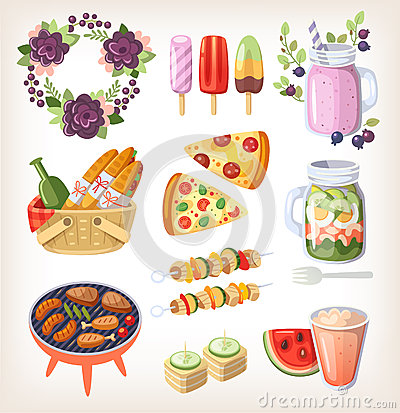 Free Summer Food And Recreation Elements Stock Photos - 56308053