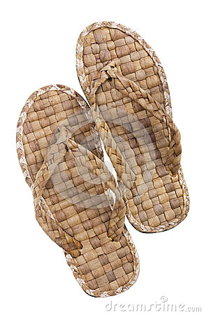 Summer footwear is weaved from straw