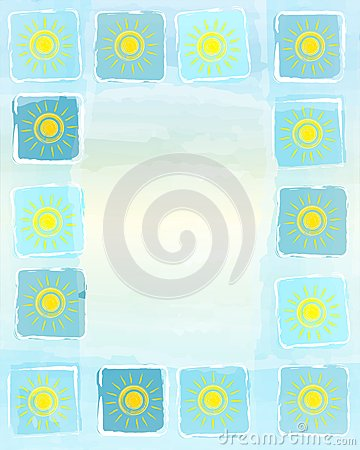 Free Summer Frame Background With Yellow Suns In Squares Royalty Free Stock Images - 32704909