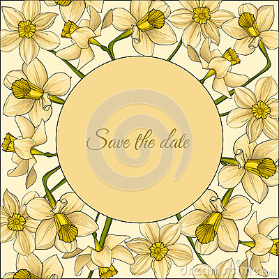 Summer frame with yellow contour flowers. Vector Illustration