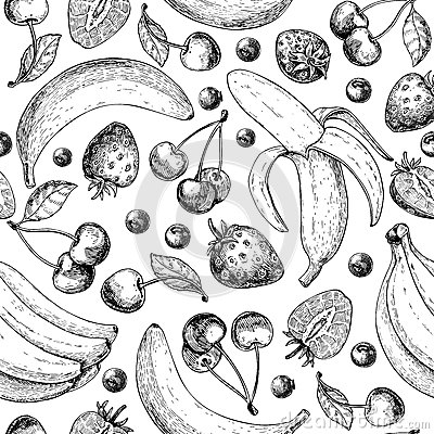 Free Summer Fruit Seamless Pattern. Hand Drawn Vintage Vector Background. Fruit And Berry Set Of Banana, Cherry, Srawberry, Royalty Free Stock Image - 91453086