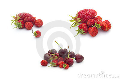 Summer fruits collection: fruits on white