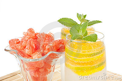 Summer fruity drink with ice