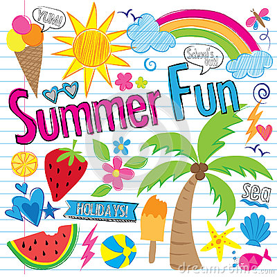 Free Summer Fun Doodles (vector) Stock Images - 74638914