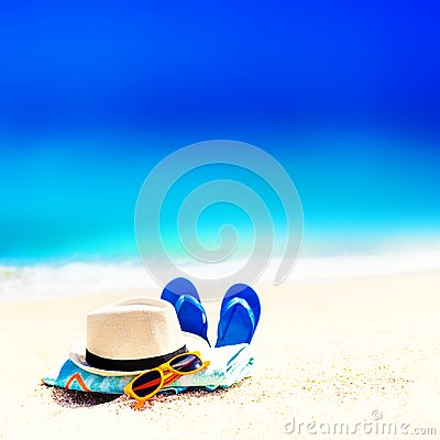 Free Summer Fun Time And Accessories On A Sand On The Beach. Blue  Sa Stock Photo - 106316810