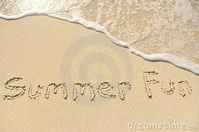 Summer Fun Written in Sand on Beach