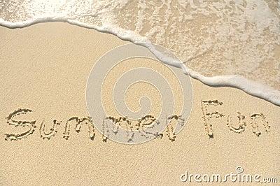 Summer Fun Written in Sand on Beach