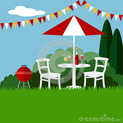 Free Summer Garden Party Barbecue Background, Flat Design, Stock Image - 53984941