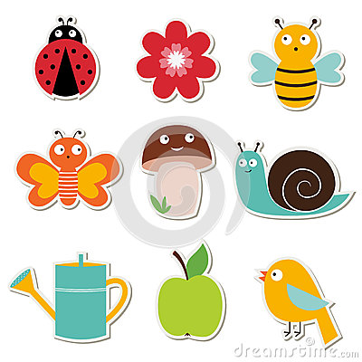 Summer garden stickers set