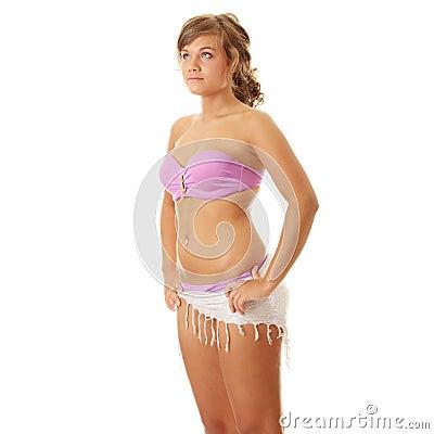 Summer girl in pink swimwear