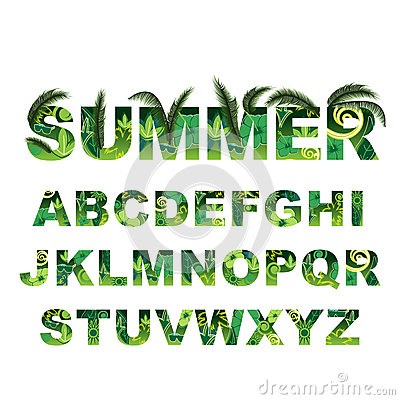 Free Summer Green Alphabet, Capital Vector Tropical Letters Royalty Free Stock Image - 89601646