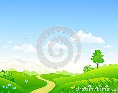 Summer green landscape Vector Illustration