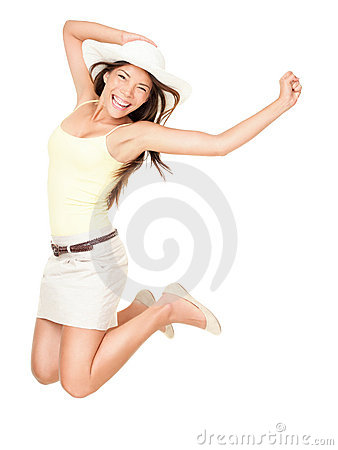 Summer happy woman jumping