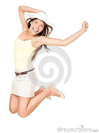 Free Summer Happy Woman Jumping Stock Photos - 19344173