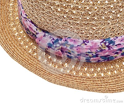 Summer Hat with Floral Pattern Close Up