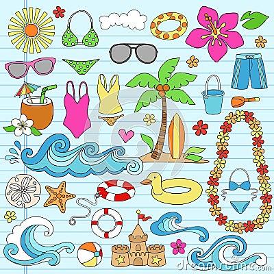 Summer Hawaiian Beach Vacation Doodles Vector