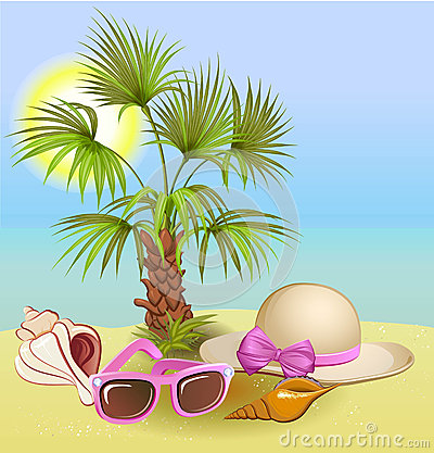 Free Summer Holiday Background With Palm,chair,hat, Shells And Sunglasses Royalty Free Stock Photography - 41601957
