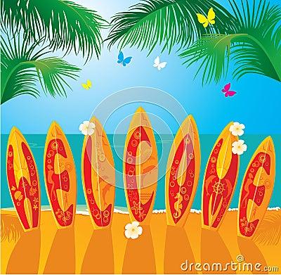 Summer Holiday card - surf boards