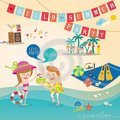 Summer holiday cartoon background clip art