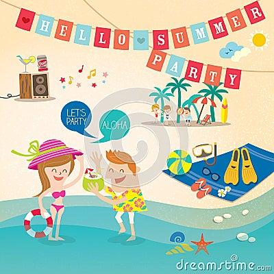 Summer holiday cartoon background clip art