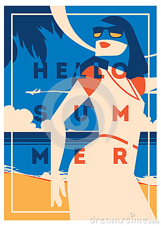 Summer Holiday and Summer Camp poster. Vector Illustration